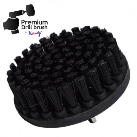 Premium Drill Brush For Professional Cleaning - Ultra Stiff, Black, 13 cm