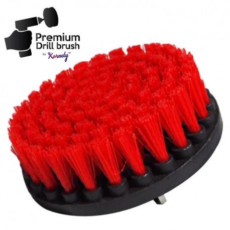 Premium Drill Brush For Professional Cleaning - Stiff, Red, 13 cm