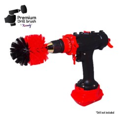Premium Drill Brush For Professional Cleaning - Stiff, Red, Original