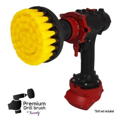 Premium Drill Brush For Professional Cleaning - Medium Soft, Yellow, 10 cm