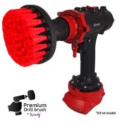 Premium Drill Brush For Professional Cleaning - Stiff, Red, 10 cm